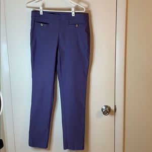 Anne Klein blue dress pants with gold detail